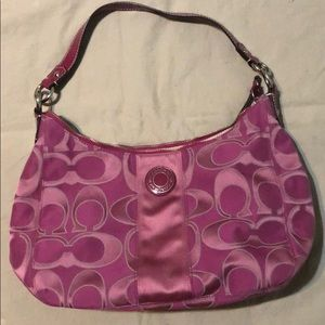 Large Coach purse in magenta with tan interior